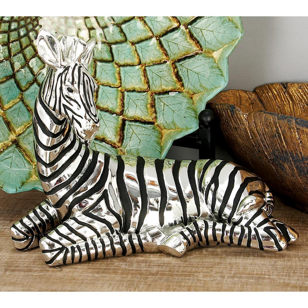 8 in. Silver and Black Sitting Zebra Decorative Sculpture