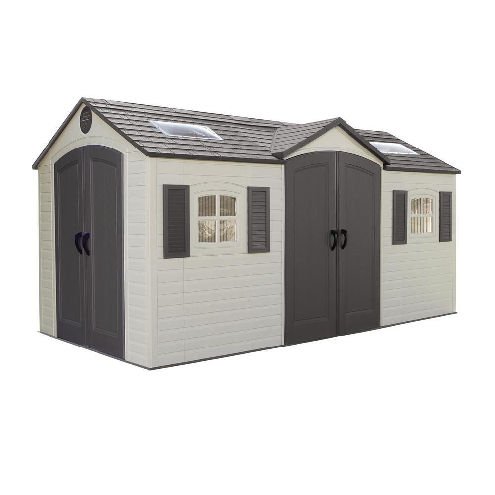 Lifetime Installed 15 ft. x 8 ft. Double Door Storage Plastic Shed ...
