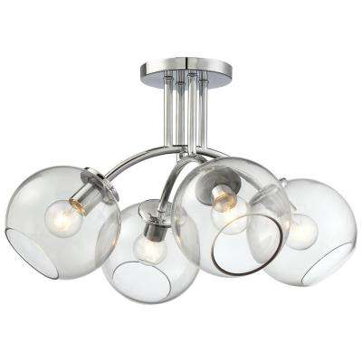 Exposed 4-Light Chrome Semi Flush Mount with Tinted Smoke Glass