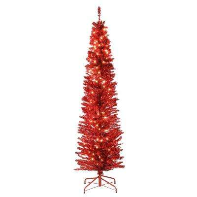 6 ft. Red Tinsel Tree with Metal Stand and 150 Clear Lights