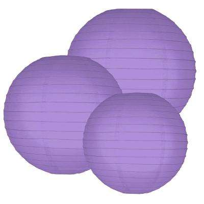 Multi Size Purple Paper Lanterns (6-Count)