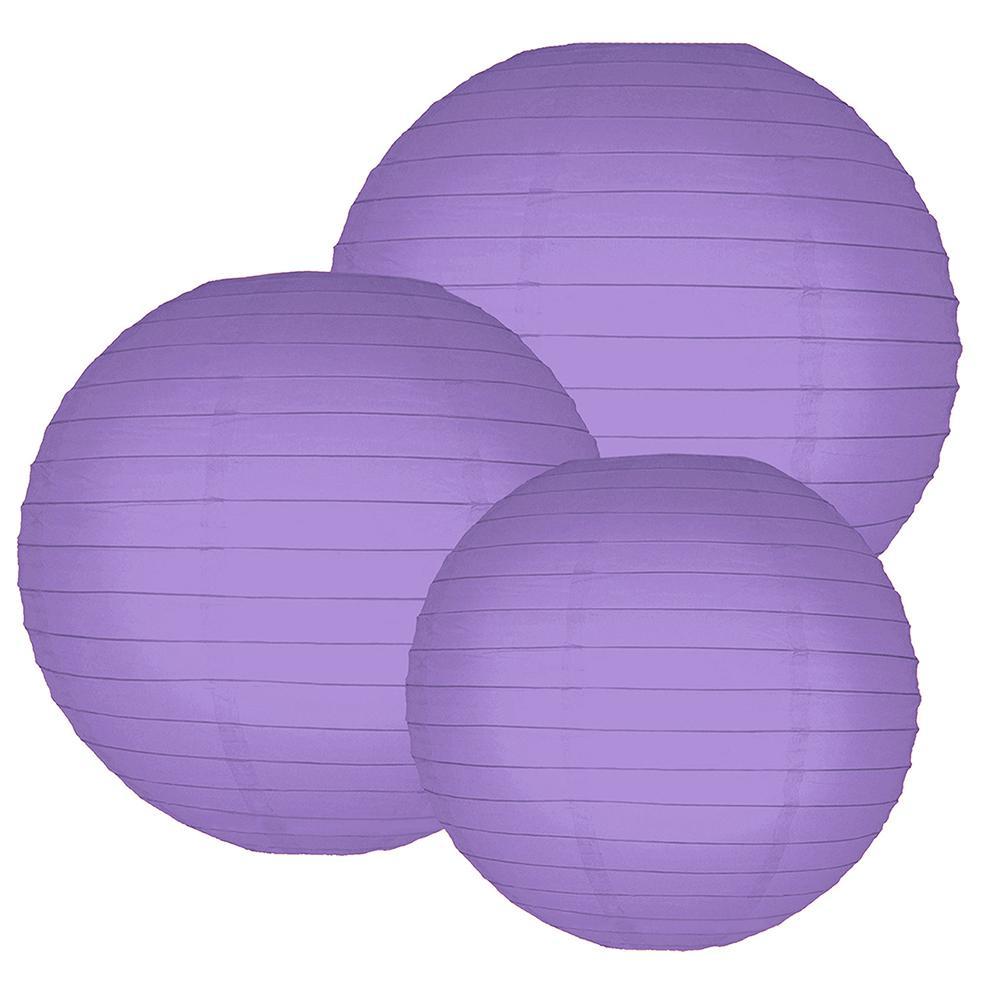 Multi Size Purple Paper Lanterns (6-Count)