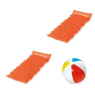 69 in. x 31 in. Neon Orange Comfort Mat Pool Float and 14 in. Beach Ball Set (Includes 2 Comfort Mats and 1 Beach Ball)