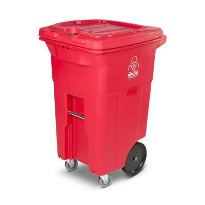 64 Gal. Red Hazardous Waste Trash Can with Wheels and Lid Lock (2 Caster Wheels 2 Stationary Wheels)