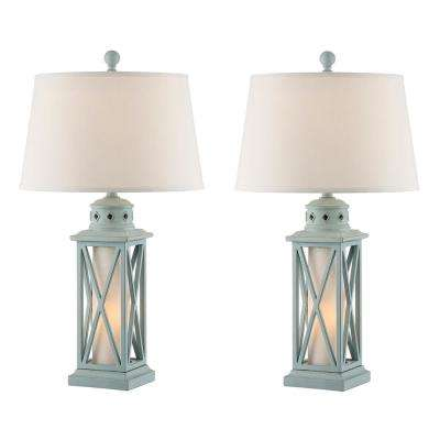 30.5 in. Glacier Blue Indoor Table Lamp Set