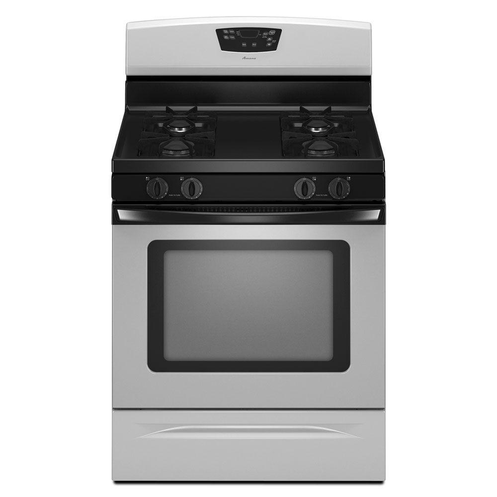 Amana 30 in. Self-Cleaning Freestanding Gas Range in Universal Silver See what's cookin' through the extra-large oven window on this range. Keeping it clean isn't a chore with a self-cleaning oven. Plus, the Easy Touch electronic oven controls make setting the bake time and temperature easy as pie. Color: Stainless Steel.