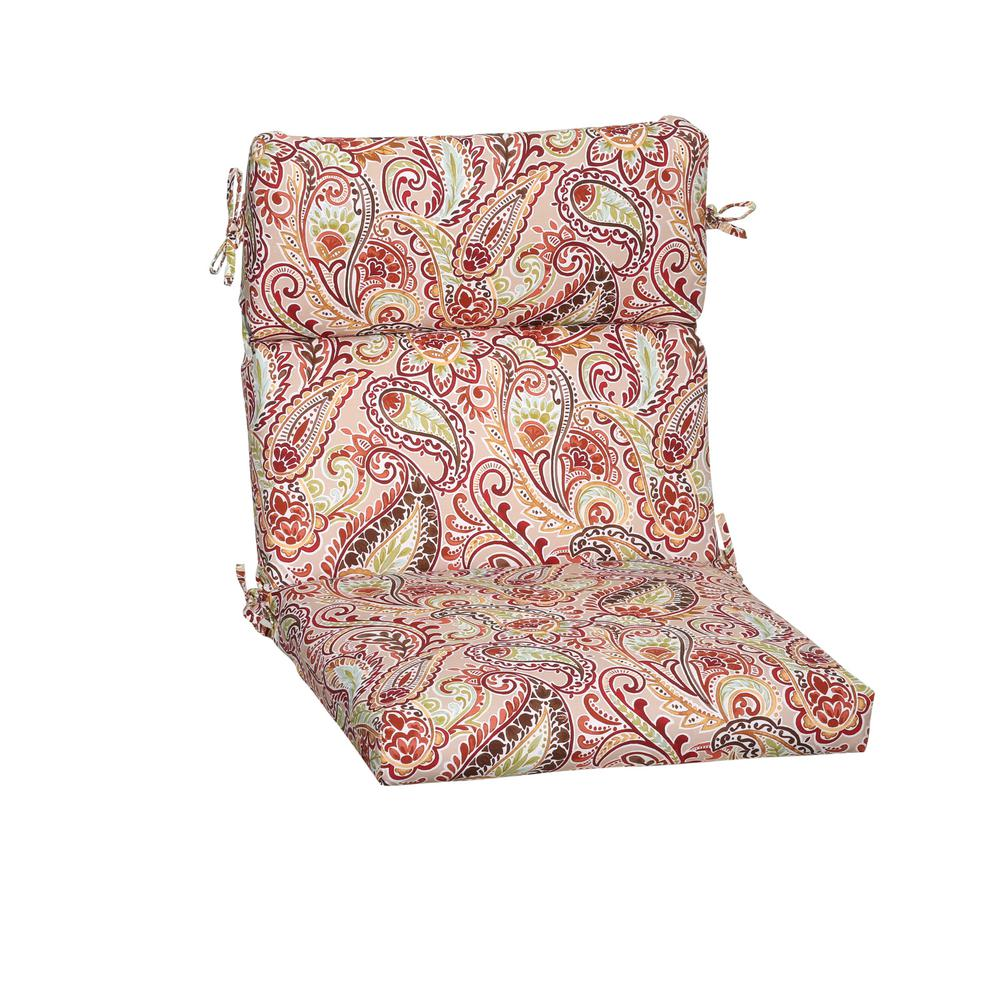 outdoor dining chair cushions. Hampton Bay Chili Paisley Outdoor Dining Chair Cushion Cushions D