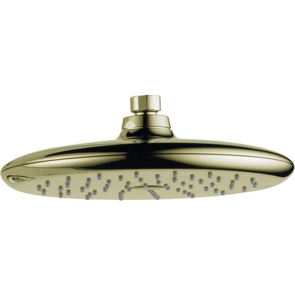 Rizu 1-Spray 8-3/4 in. Fixed Shower Head in Polished Brass