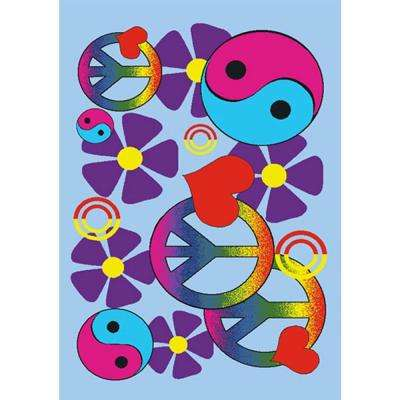Fun Time Lovely Peace Multi Colored 3 ft. x 5 ft. Area Rug