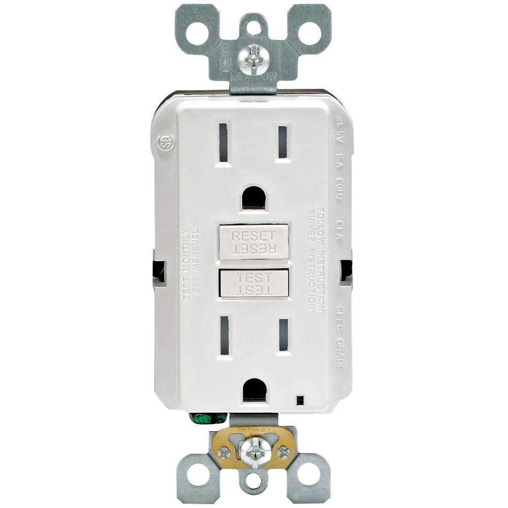 Leviton 15 Amp 125-Volt Duplex SmarTest Self-Test SmartlockPro Tamper Resistant GFCI Outlet, White