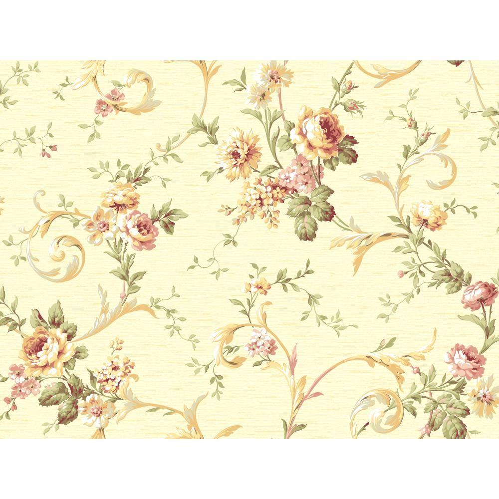 York Wallcoverings Floral Scroll Trail Wallpaper Cg5641
