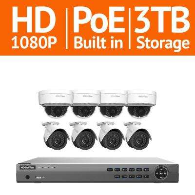 16-Channel Full HD IP Indoor/Outdoor Surveillance 3TB NVR System (4) Bullet and (4) Dome 1080P Cameras Free Remote View