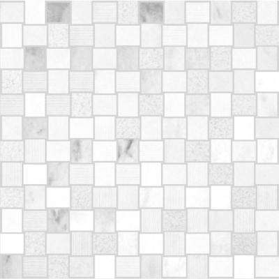 Marble Medley Carrara Basketweave 12 in. x 12 in. x 7.9 mm Mixed Finish Marble Mesh-Mounted Mosaic Tile