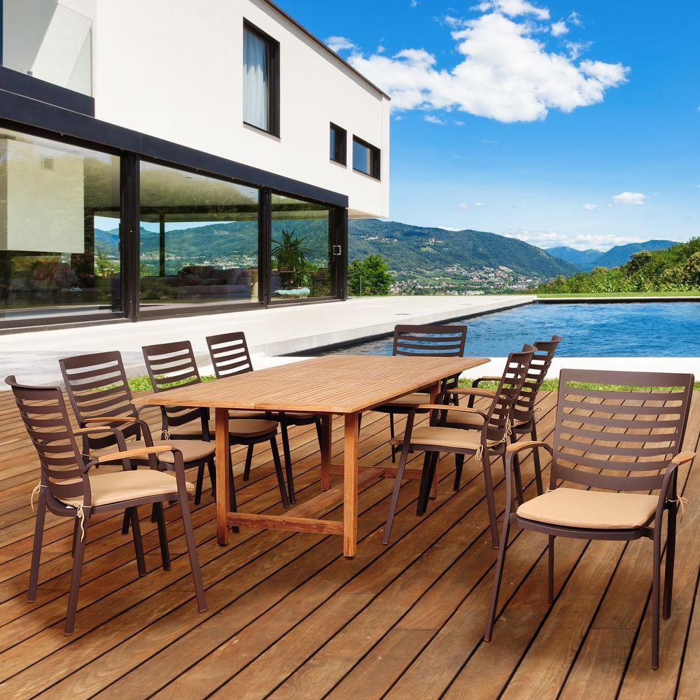 Davie 9-Piece Teak/Cast Aluminum Extendable Rectangular Patio Dining Set with