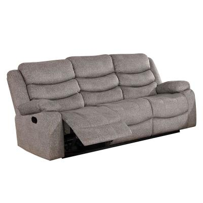 Castleford 38.00 in. Light Gray Solid Fabric 3-Seat Motion Sofa with Reclining