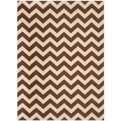 Courtyard Dark Brown 8 ft. x 11 ft. Indoor/Outdoor Area Rug