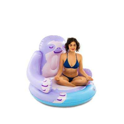 4 ft. W X-Large Purple Vinyl Inflatable Sloth Pool Float with Patch Kit
