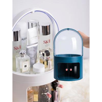 CozyBlock High Dome Makeup Container, Dustproof Makeup Organizer Multi-Level Cosmetic Organizer, Skincare Holder in Blue