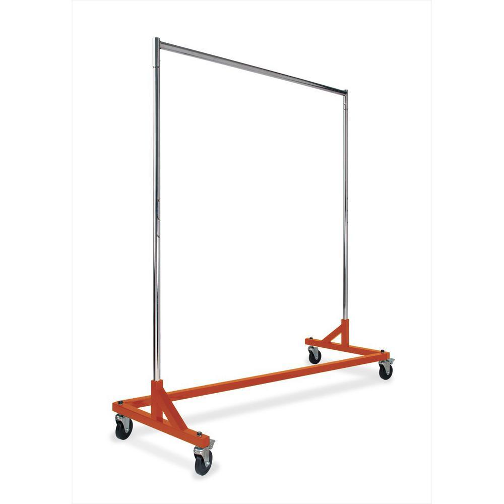 61 in. W x 70 in. H Chrome and Osha Orange Base Rolling Garment Rack