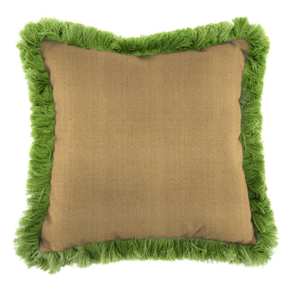 Jordan Manufacturing Sunbrella Linen Straw Square Outdoor Throw Pillow with Gingko Fringe