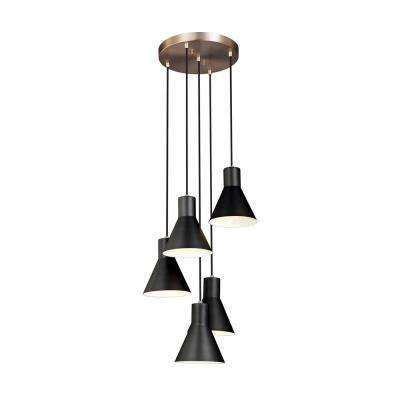 Towner 5-Light Black Shade with Satin Bronze Accents Cluster Pendant with LED Bulbs