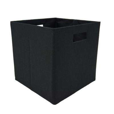 12 in. L x 12 in. W x 12 in. H Black Fabric Foldable Storage Cube (Set of 2)