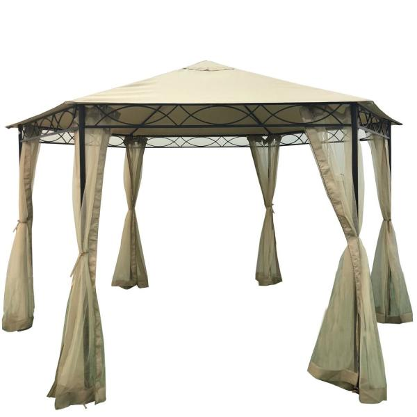 Duke 12.4 ft. x 12.4 ft. Beige Canopy Gazebo
