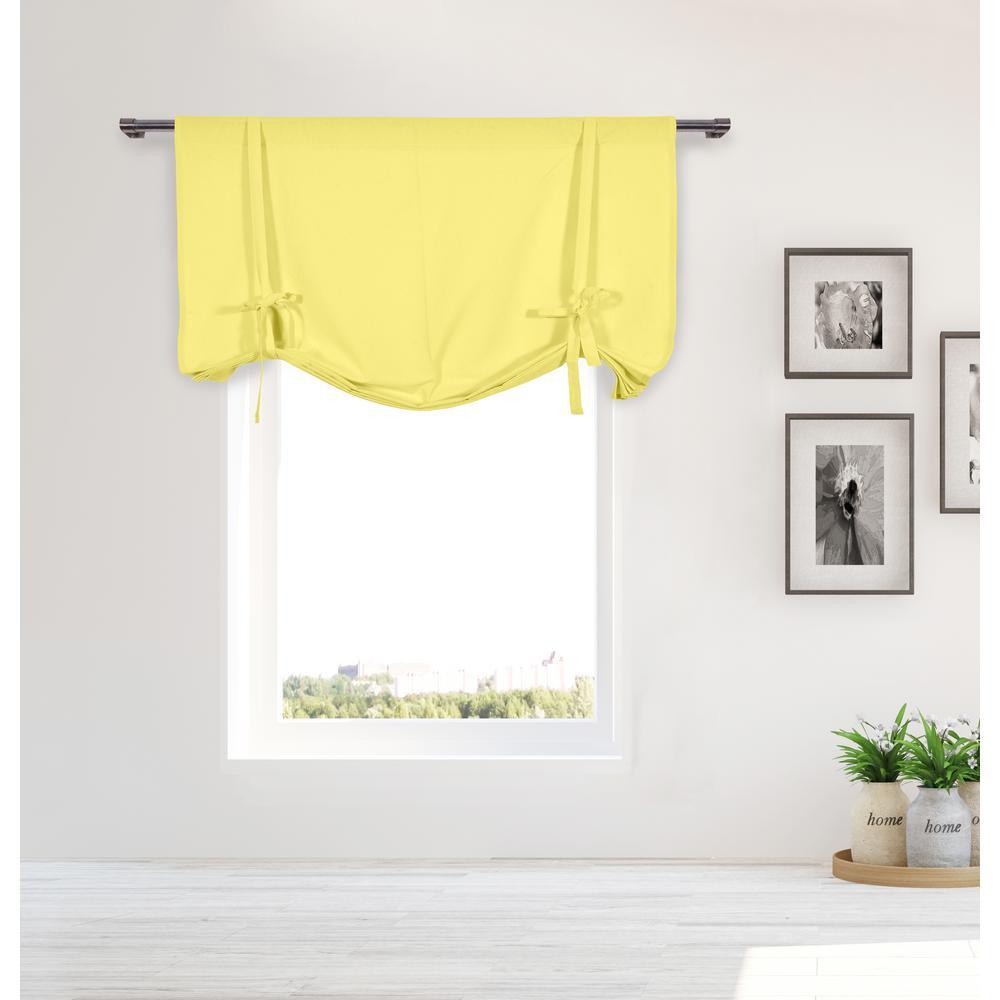 Kimi Light Yellow Solid Cotton Pole Top Tie Up Room Darkening Window Panel - 42 in. W x 63 in. in. L (2-Piece)