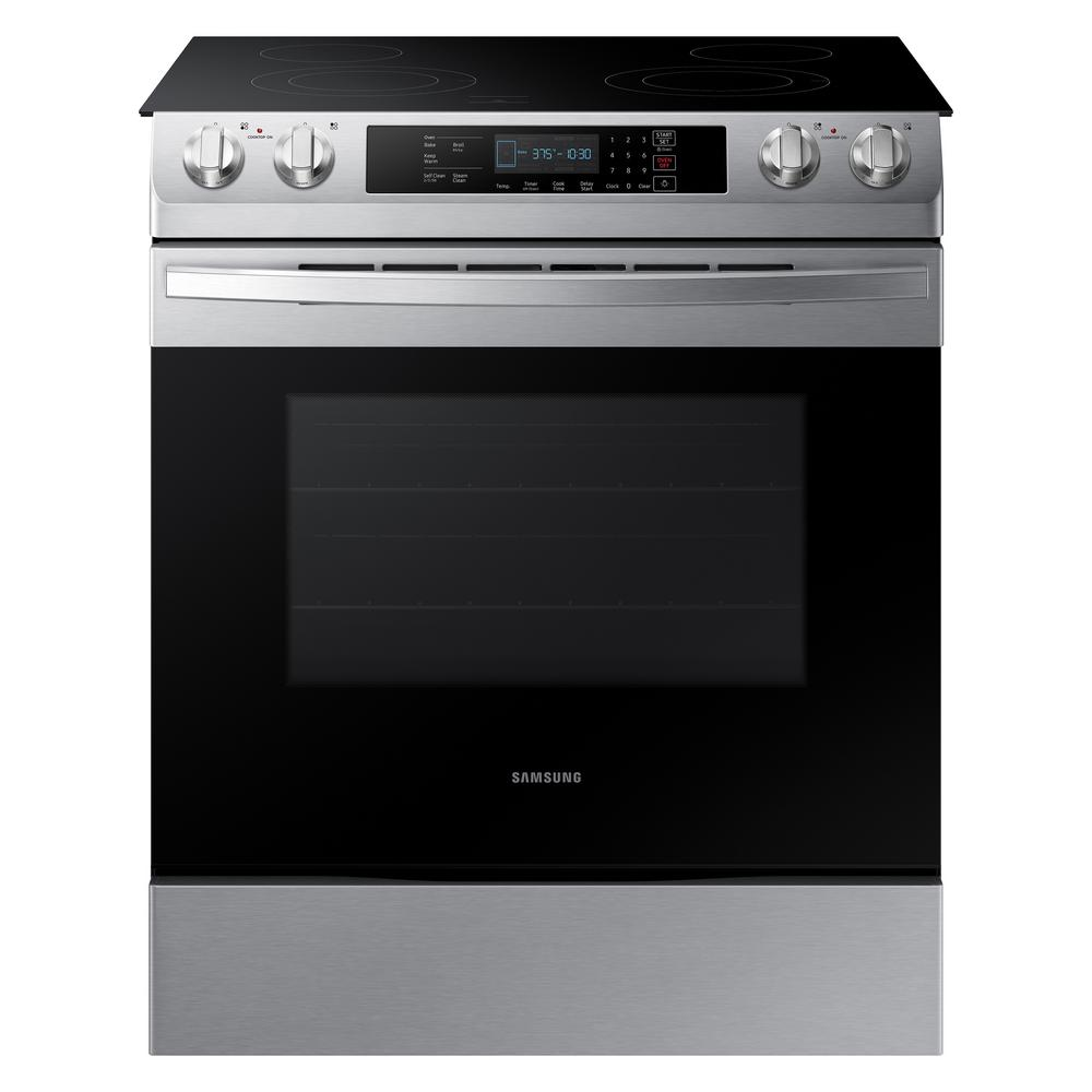 Samsung 30 in. 5.8 cu. ft. Slide-In Electric Range with Self Cleaning Oven in Stainless Steel, Silver