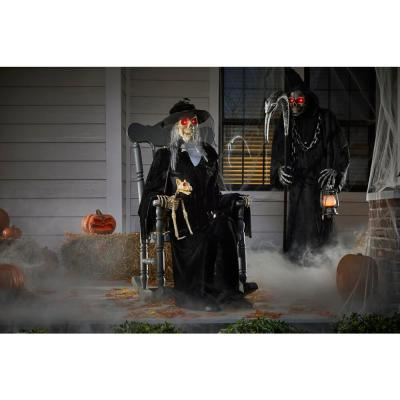 4 ft. Animated LED Rocking Chair Skeleton with Cat