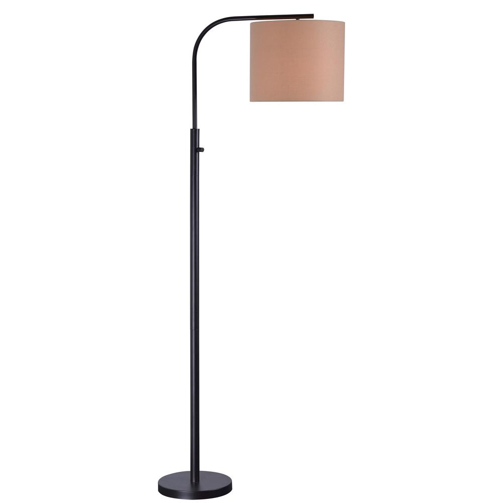 kenroy home bridgeton 63 in bronze arc floor lamp with tan drum