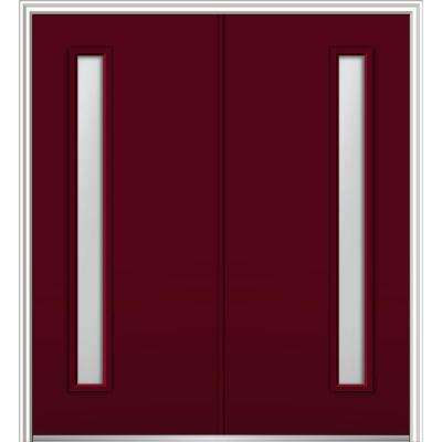 72 in. x 80 in. Viola Left Hand Inswing 1-Lite Frosted Painted Fiberglass Smooth Prehung Front Door on 4-9/16 in. Frame