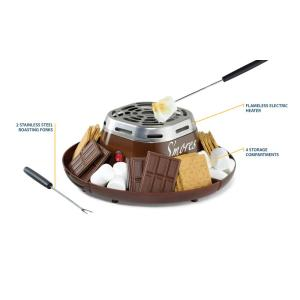 Nostalgia-SMM200 Stainless Steel Electric S'Mores Maker with 4-Compartment Tray and 2 Roasting Forks