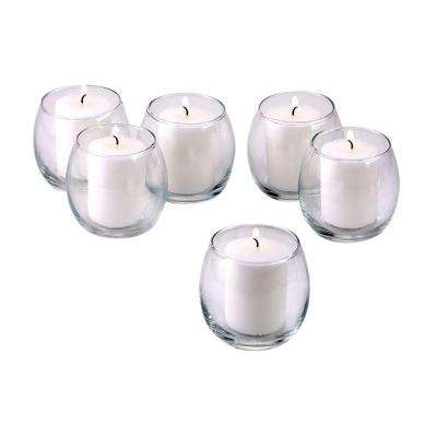 Clear Glass Hurricane Votive Candle Holders with White Unscented Votive Candles (Set of 36)