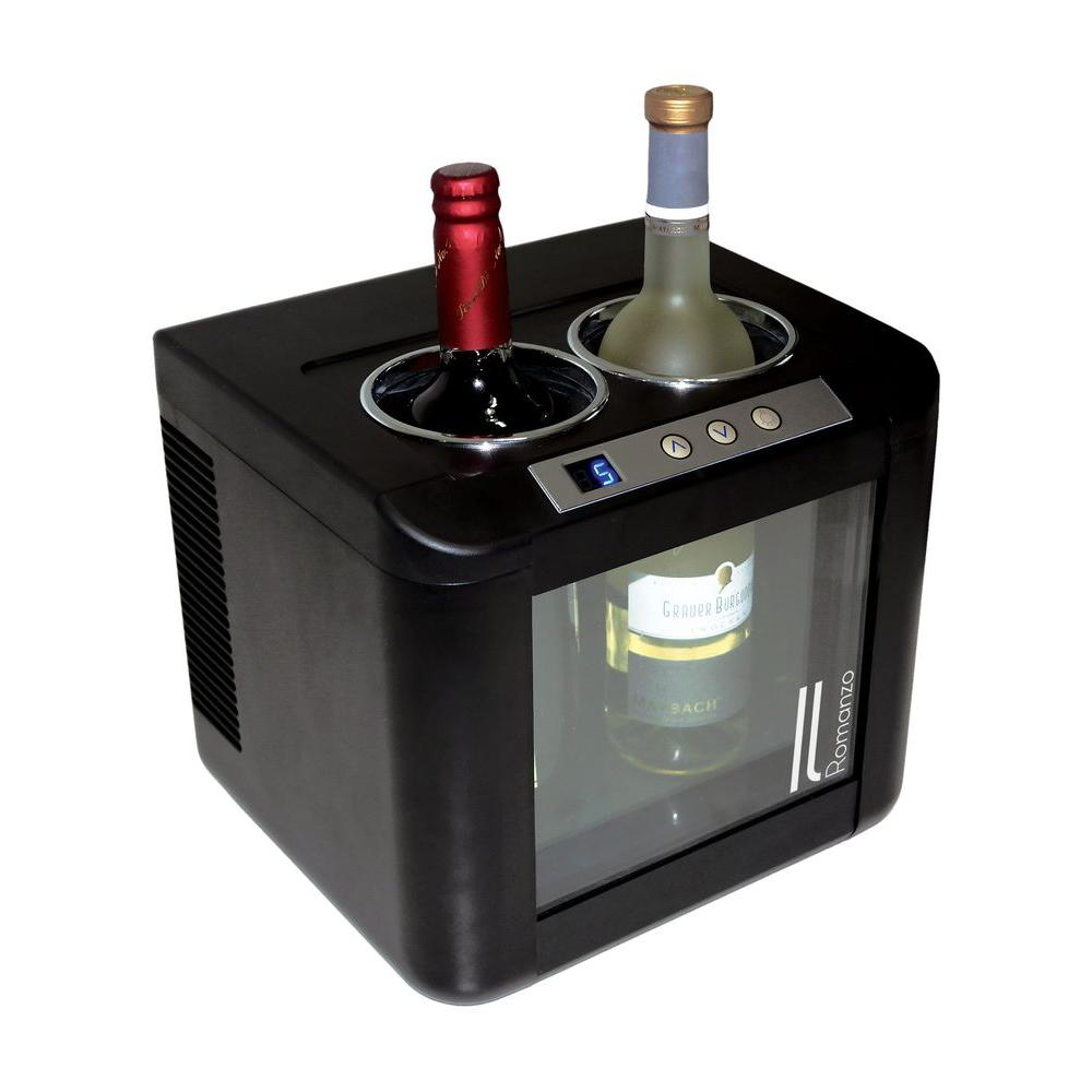 Vinotemp 12 bottle dual zone thermoelectric mirrored wine for Modern homes 8 bottle wine cooler