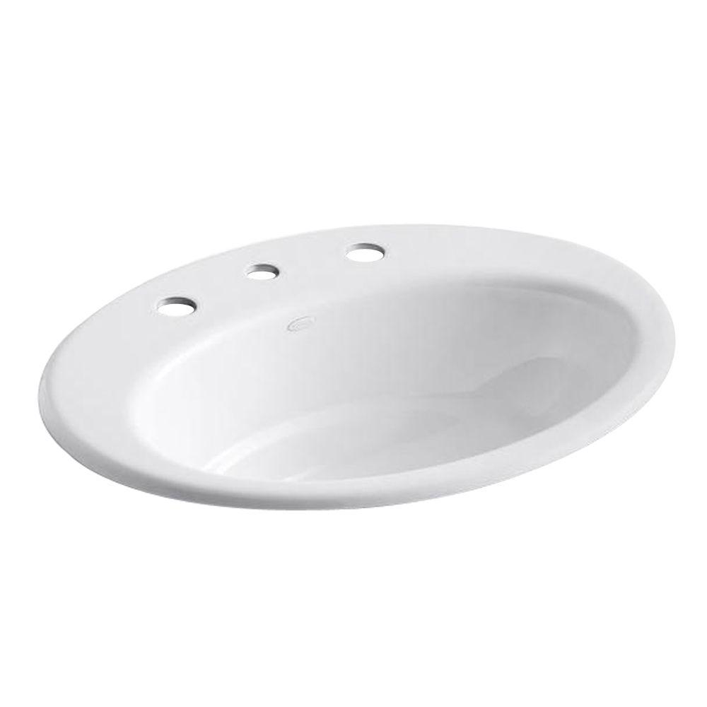 Thoreau Drop-In Cast Iron Bathroom Sink in White with Overflow Drain