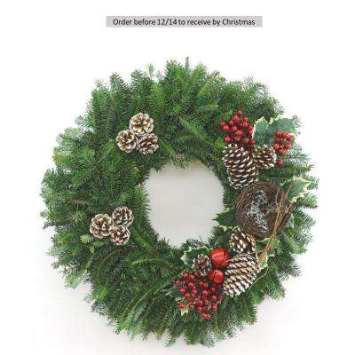 24 in. Fresh Christmas Celebration Fraser Fir Evergreen Wreath