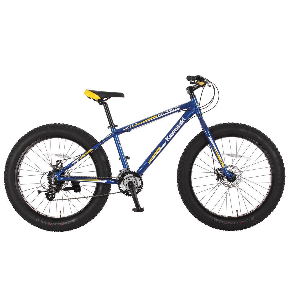 26 in. x 4 in. Wheels Aluminum Blue/Yellow Mihari Fat Tire Bike