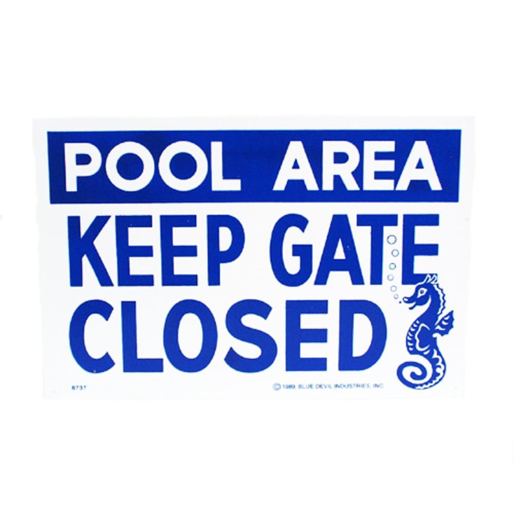 18 in. x 12 in. Blue Devil Keep Gate Closed Sign