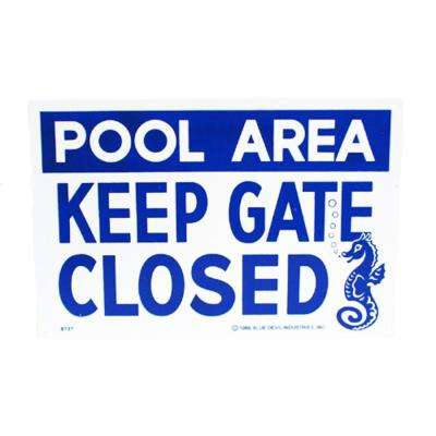 18 in. x 12 in. Blue Devil Keep Gate Closed Sign