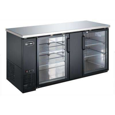 69.25 in. W 23.3 cu. ft. Commercial Back Bar Refrigerator with Glass Doors in Stainless Steel with Black Finish