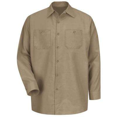 Men's Size M Khaki Long-Sleeve Work Shirt