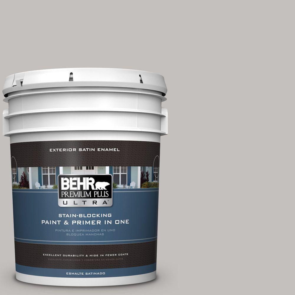 BEHR Premium Plus Ultra 5-gal. #PPU18-10 Natural Gray Satin Enamel Exterior Paint