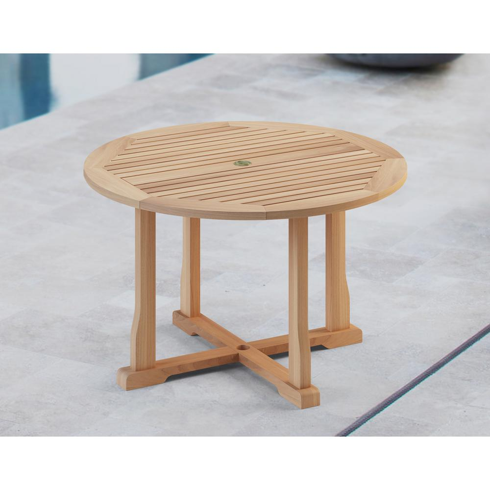 Natural Teak Outdoor Dining Table With Umbrella Insert Tk8219 The