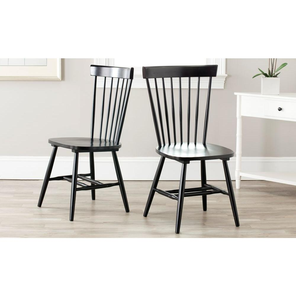 Black Dining Furniture: Safavieh Riley Black Wood Dining Chair (Set Of 2)-AMH8500B