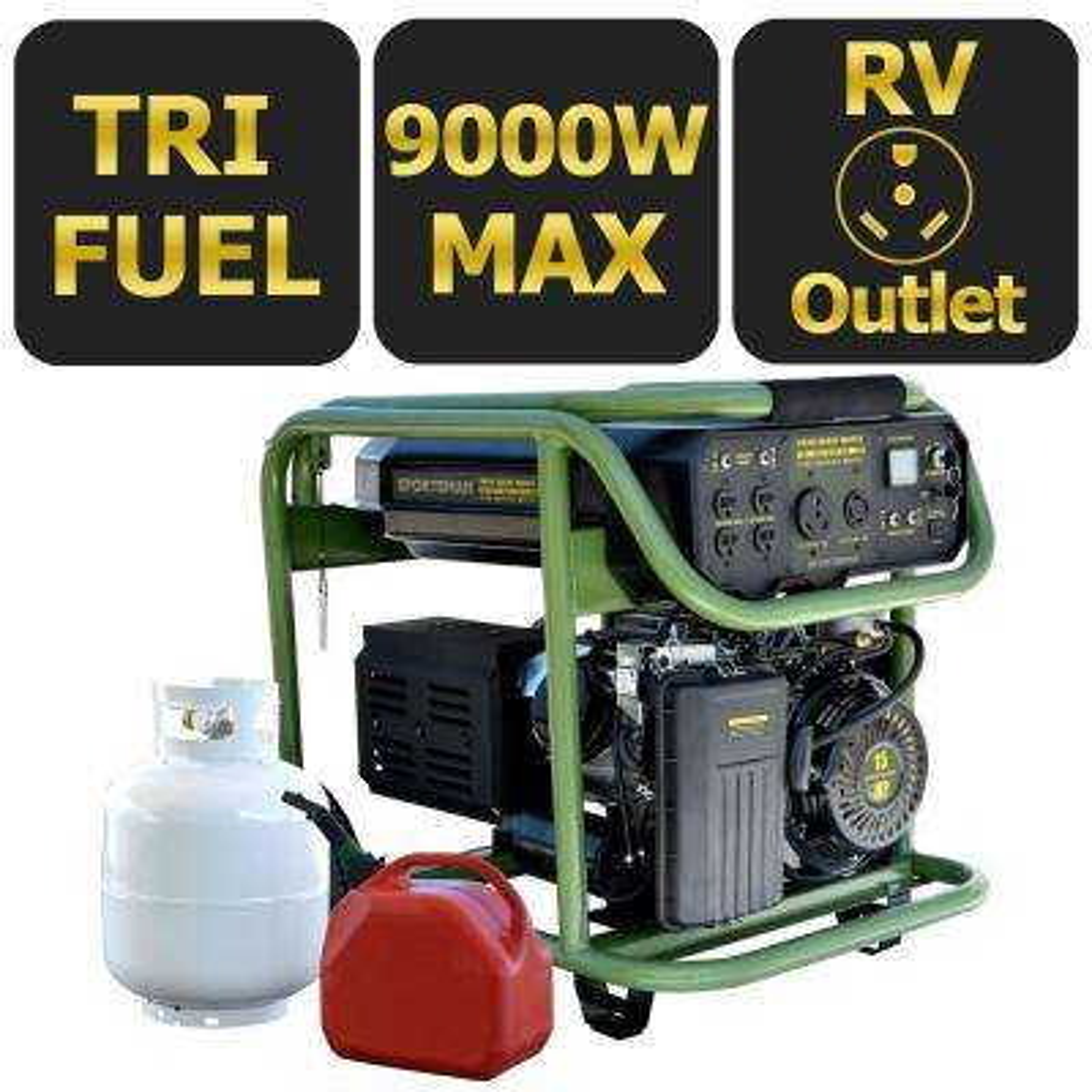 9,000/7,200-Watt Tri-Fuel Electric Start Powered Portable Generator, 50 State Compliant