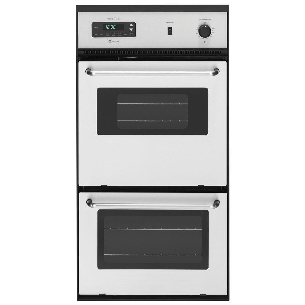 Maytag 24 in. Double Electric Wall Oven Self-Cleaning in Stainless Steel