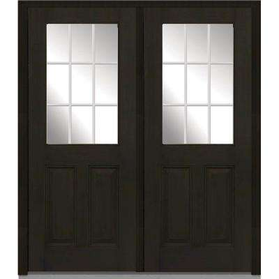 64 in. x 80 in. White Internal Grilles Left-Hand Inswing 1/2-Lite Clear Stained Fiberglass Mahogany Prehung Front Door