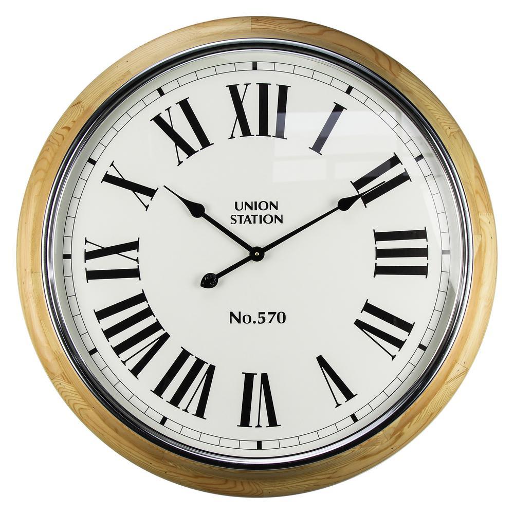 Union Station II Natural Wood Analog Wall Clock