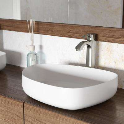 Peony Matte Stone Vessel Sink in White with Otis Vessel Faucet in Brushed Nickel